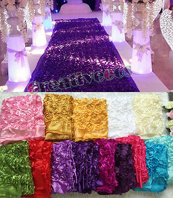 Fashion Satin 3D Rose Flower Wedding Aisle Runner Marriage Decor Carpet Curtain