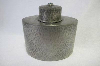 Antique Tea Caddy Made By Liberty & Co Hammered Pewter Turquoise 0614