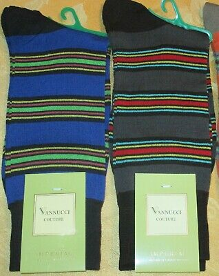 Men's VANNUCCI Couture STRIPED DESIGNER SOCKS - ORANGE Taupe GRAY Black BLUE NEW