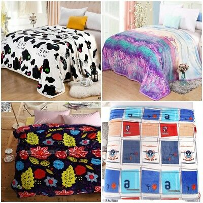 New Coral Fleece Blanket Single Double Queen King Size 8 Designs Warm Soft Thin