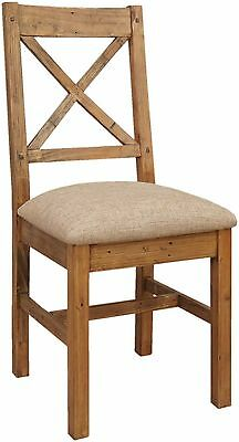 Salone reclaimed pine furniture set of four cross back dining chairs