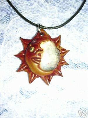 HAND MADE TERRA COTTA CLAY SUN & CRESCENT MOON w CLEAR GLASS PENDANT NECKLACE