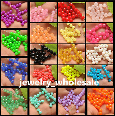 100pcs Acrylic Charm Round Loose Spacer Beads 6mm 21 Color U Pick