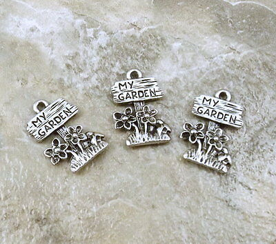 "Three ""MY GARDEN"" Sign Charms - Lead Free Pewter - 0860"