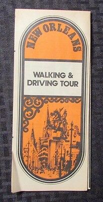 Vintage NEW ORLEANS Walking & Driving Tour Fold-Out w/ 35 Destinations & Map VG