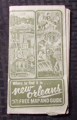 1971 NEW ORLEANS Map & Transit Guide VG- Fold-Out Map