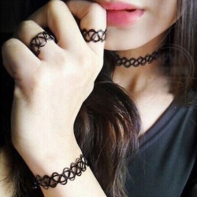 Sexy Stretch Black Tattoo Choker Necklace Bracelet Ring Sets Gothic Punk Jewelry