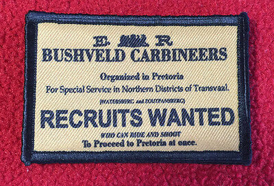 Bushveld Carbineers Morale Patch Breaker Morant Military Tactical Army Flag USA
