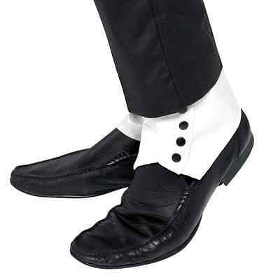 1920S Roaring 20's White Spats Gangster Dance Costume Spats W/ Black Buttons
