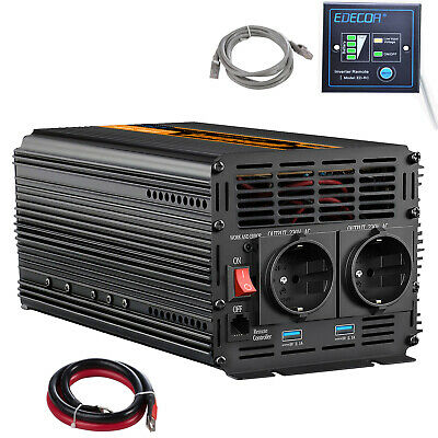 Convertitore 2000W 4000 Watt Peak DC 12V a AC 230V Auto Power Inverter Camp