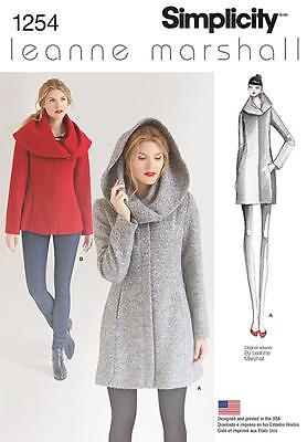 SIMPLICITY SEWING PATTERN Misses Leanne Marshall Lined Coat Jacket 4 - 22 1254