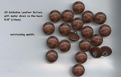 """20 Faux Leather Buttons ANTIQUE BROWN 5/8"""" 14mm -metal shank washable"""