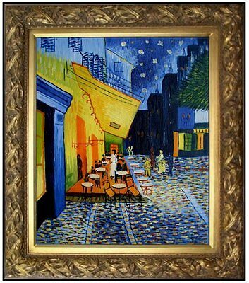 Framed, Van Gogh Cafe Terrace at Night Repro, Hand Painted Oil Painting 20x24in
