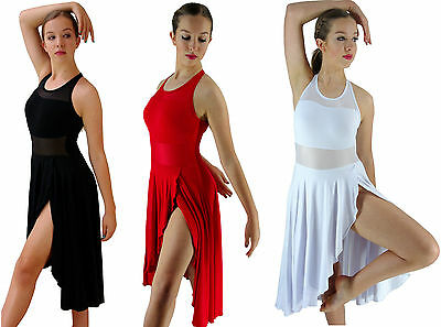 White Red Black Modern Dance Lyrical Ballet Costume Mesh Dress - 6 8 10 12 14 16