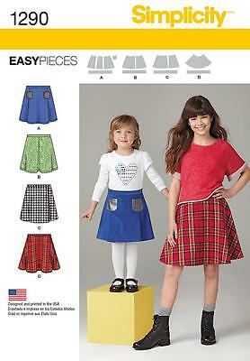 Simplicity Sewiing Pattern Childs' & Girls' Set Of Skirts  Sizes 3 - 14 1290