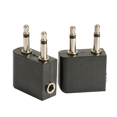 2pcs 3.5mm to 2 Plug Connector Airplane Airline Headphone Jack Audio Adapter NEW