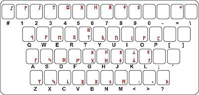 Sticker decal keyboard red letter laptop  transparent anglo saxon runes futhark