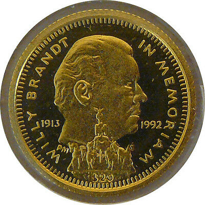 Liberia 20 Dollar 1992 Willy Brandt 1/25oz Gold PP
