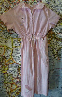 50s-60s Little Girls pink cotton Jumpsuit w/applique 27 breast as is