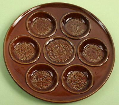 Vintage Passover Plate, Brown Ceramic Seder Pesach Tray Pesah Judaica Heirloom