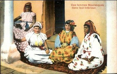 Beautiful Arab Muslim Women Des Femme Mauresque c1910 Postcard