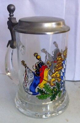 Rare Vintage German Lions Flags Crest Stein Mug Zinn 93% Pewter Lid Collectible