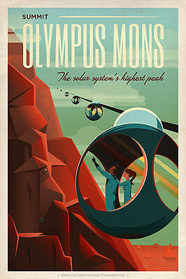 SpaceX Olympus Mons Mars Space Tourism Giclee Poster Print Contemporary Poster