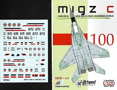 lh003/ Lift Here Decals - MiG-21 / MiG-29 - Jugoslawische Luftwaffe - 1/100