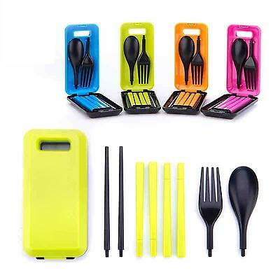 Practical Outdoor Travel Picnic Chopsticks Spoon Fork Tableware With Storage Box