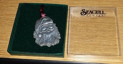New Seagull pewter Santa face with red ribbon ornament