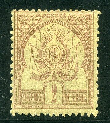 TUNISIA; 1888 early classic issue Mint hinged 2c. value