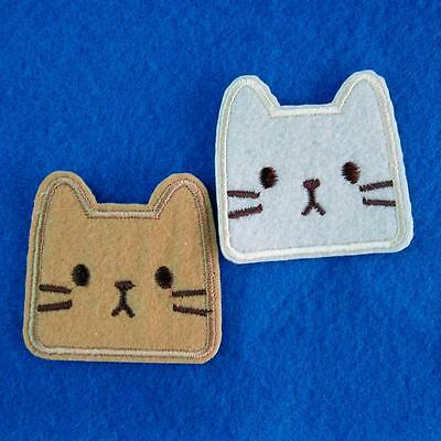 2 Cat Kitty Iron On Sew Patch Applique Badge Embroidered Biker Applique Cute Lot