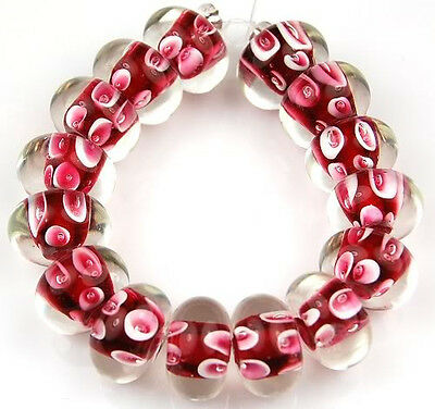HANDMADE LAMPWORK GLASS BEADS Pink White Bubble Rondelle