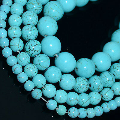 15.5''Natural Turquoise Gemstone Round Beads 2mm 4mm 6mm,8mm 10mm 12mm 14mm