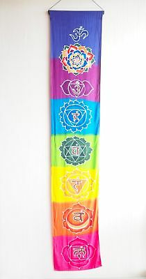 Hand Batiked Rainbow Chakra Seven chakra banner wall hanging prayer flags