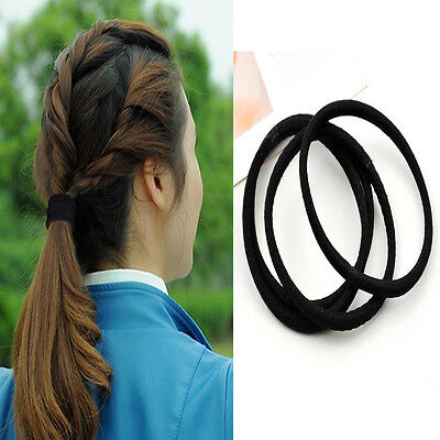 10pcs Black Colors Rope Elastics Hair Ties 4mm Thick Hairbands Girl's Hair Bands