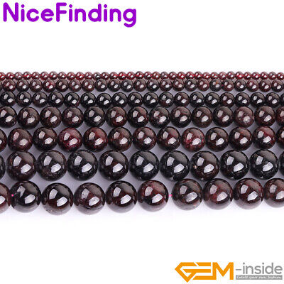 """Round Smooth Garnet Natural Stone Beads Jewellery Making Necklace 15""""Women Gift"""