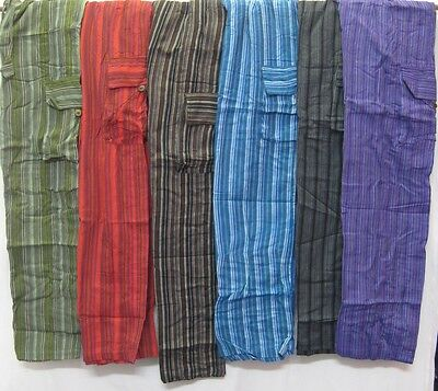Mens Pants Stripped patch cotton hippy yoga Comfy Unisex Summer hippie cargo new