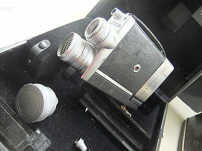Movie cine camera BELL & HOWELL 200 EE 16mm plus wide angle, leather case .. F5