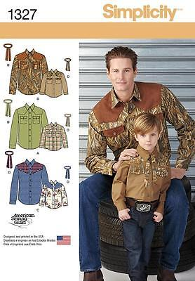 Simplicity Sewing Pattern Boys' & Mens Western Shirt & Tie Sizes S-L /s-Xl  1327
