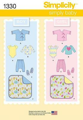 Simplicity Sewing Pattern Babies Pants Jacket Booties Blanket Top Xxs - L  1330
