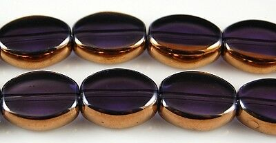 24pcs Amethyst & Gold Flat Oval Electroplated Glass Beads