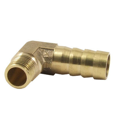 "3/8"" Hose Barb x 1/8PT Thread Brass Right Angle Elbow Barbed Coupler Connector"