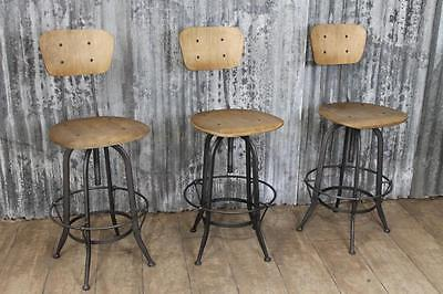 Vintage Industrial Style Adjustable Swivel Machinist Stool Bar Stool With Back