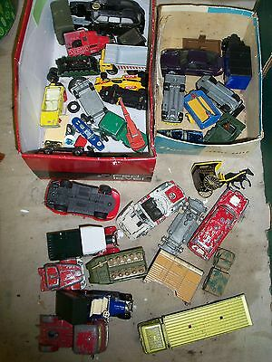 Diecast model cars - job lot in red shoe box - some good & some tired CORGI etc