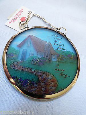 "Road to friends home Glass Art Catchers Stained print Window Hanging 3"" Ornament"