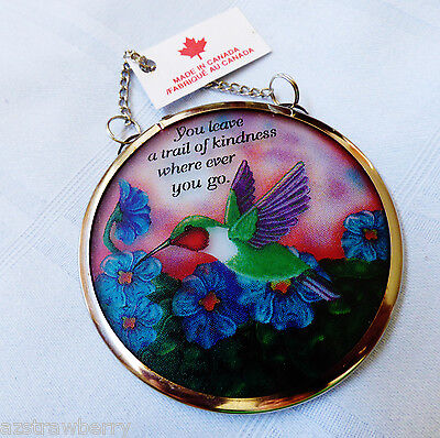 "Trail of kindness Glass Catchers Stained print Window Hanging 3"" Ornament"