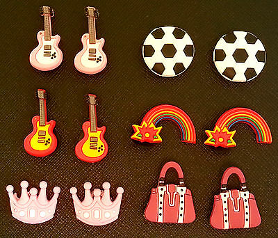 2 x Guitar Football Handbag Rainbow Princess Croc Shoe Charms Crocs Jibbitz