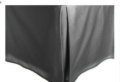 """Gray Solid Faux Silk Bed Skirt Queen Size Dust Ruffle Bedding 14"""" Drop !"""