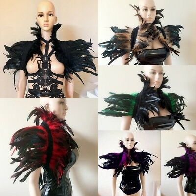 Black Red Brown Coque feathers shrug Burlesque Goth Collar Cape Shoulder Wrap